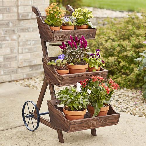 3-Tier Wooden Planter Cart