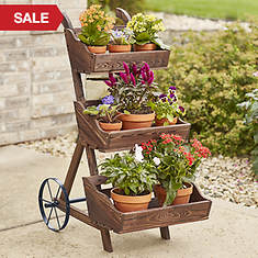 3-Tier Wooden Planter Cart