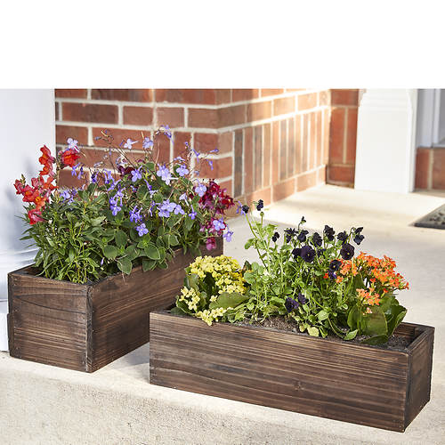 Set of 2 Wooden Planter Boxes