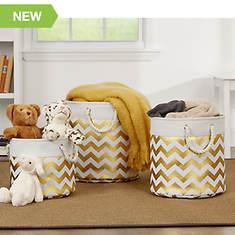 Home Basics 3-Piece Canvas Storage Bin Set
