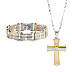 Men's Two-Toned Cross Necklace and Bracelet Set