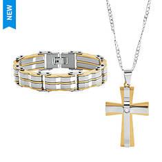 Men's Two Toned Cross Necklace and Bracelet Set