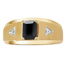 Men's 10K Onyx/Diamond Ring