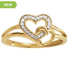 10K Heart/Diamond Accent Ring