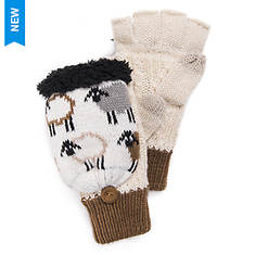MUK LUKS Women's Counting Sheep Fingerless Flip Mittens