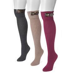 MUK LUKS Women's 3-Pair Buckle Cuff Over-the-Knee Socks
