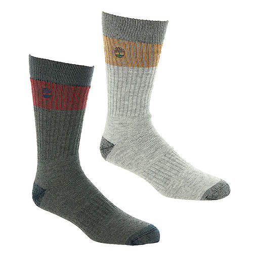 Timberland Men's Colorblock Crew 2-Pack Socks