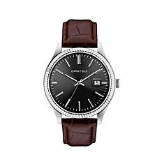 Caravelle By Bulova Black Dial Leather Watch