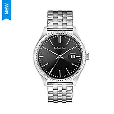 Caravelle By Bulova Black Dial Stainless Watch