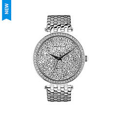 Caravelle By Bulova Silver-Tone Crystal Bracelet Watch