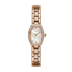 Caravelle By Bulova Rose Gold-Tone Crystal Watch