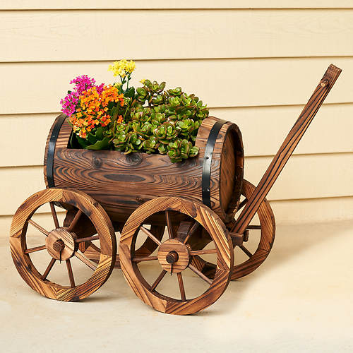 Barrel Wagon Garden Planter
