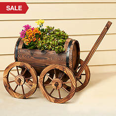 Barrel Wagon Garden Planter
