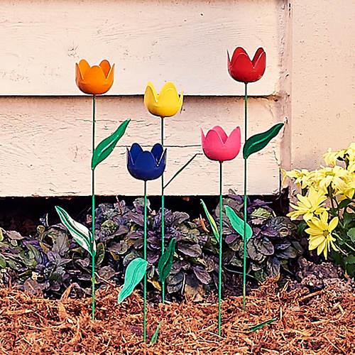 Metal Tulip Stakes-Set of 5