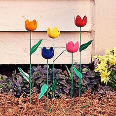 Metal Tulip Stakes-Set of 5