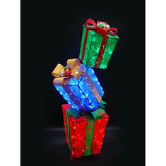 Prelit Christmas Gift Box Tower