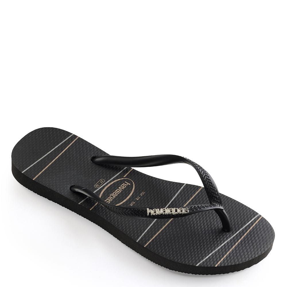 1ed08238e Havaianas Slim Logo Metallic Stripe Women s Sandal