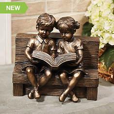 Reading Boy & Girl Solar Statue