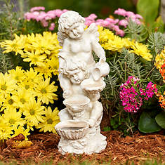 Solar Cherub Lighted Fountain
