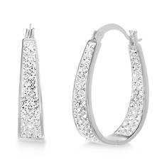 Crystal In-and-Out Horseshoe-Shaped Hoop Earrings