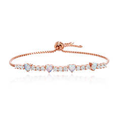 Opal & CZ Heart-Shaped Tennis Bracelet