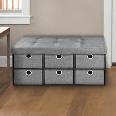 Collapsible 6-Drawer Storage Ottoman-Linen