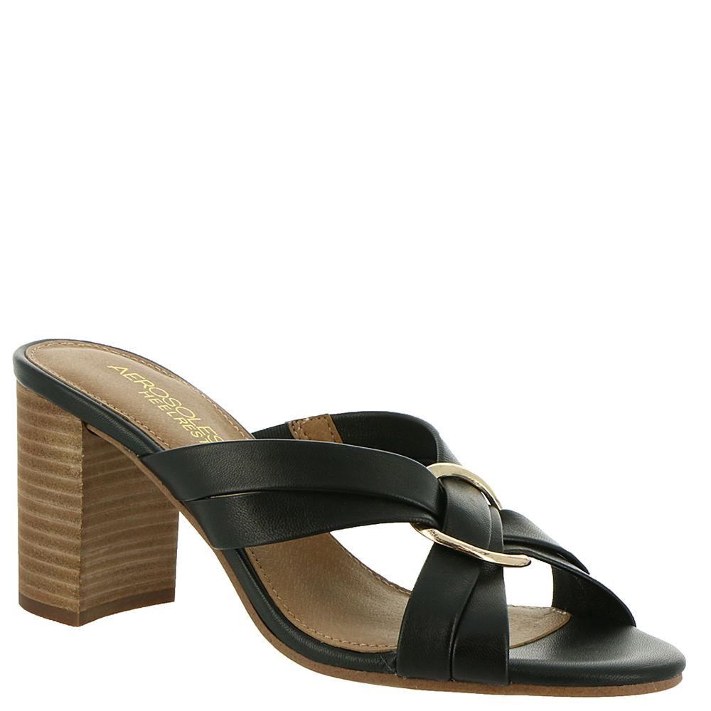 70s Shoes, Platforms, Boots, Heels | 1970s Shoes Aerosoles Highwater Womens Black Sandal 10.5 W $98.95 AT vintagedancer.com