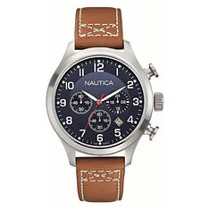Nautica Dial Leather Strap Watch