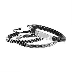 Faux Leather/Stainless Steell Bracelet Set