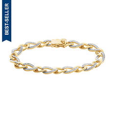 Two Toned SS Bracelet with Diamond Accents