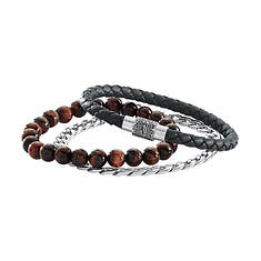 Faux Leather/Tiger's Eye/Stainless Steel  Bracelet Set