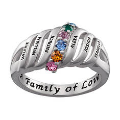 Family Name and Birthstone Ring