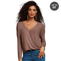 Surplice High-Low Knit Top