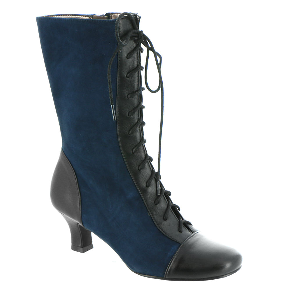 Edwardian Shoes – Styles for Women ARRAY Olivia Womens Navy Boot 7 W $89.99 AT vintagedancer.com