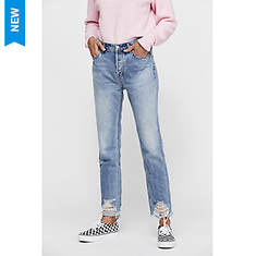 Free People Women's Chewed Up Mid-Rise Straight-Leg Jeans