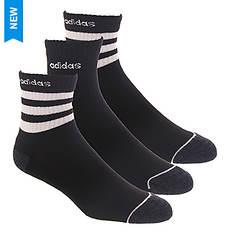 adidas-3 Men's Stripe 3-Pack High Quarter Socks