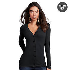 Button-Front Long-Sleeved Tee