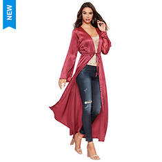 Tie-Front Satin Duster