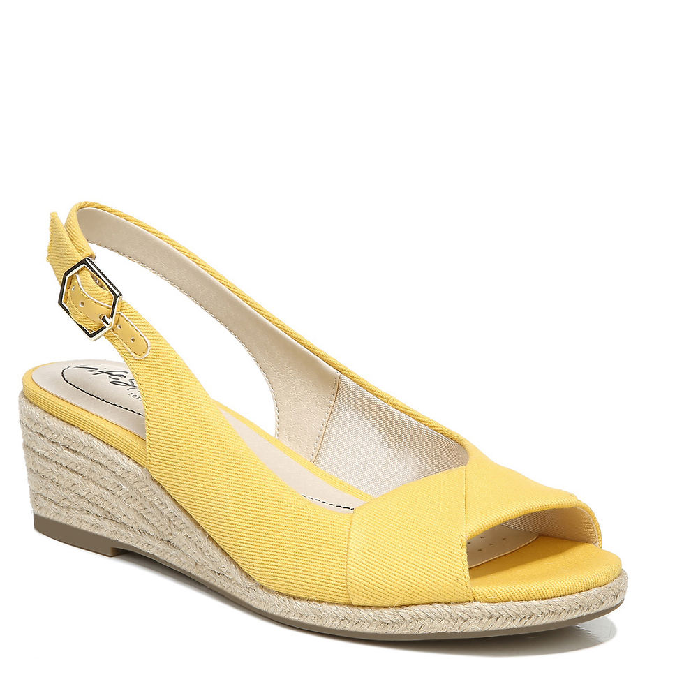 1950s Style Shoes | Heels, Flats, Boots Life Stride Socialite Womens Yellow Sandal 10 W $69.95 AT vintagedancer.com