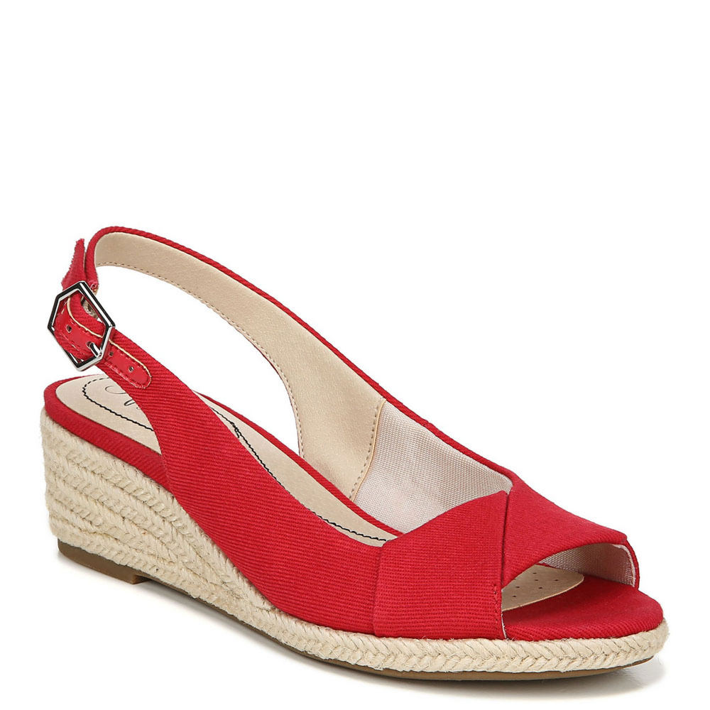 1940s Style Shoes, 40s Shoes Life Stride Socialite Womens Red Sandal 9 W $69.95 AT vintagedancer.com