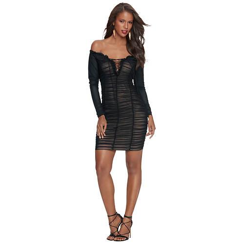 Off-Shoulder Sheer-Look Ruched Dress