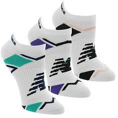 New Balance Women's LAS60123 Perf Elite Sport No Show 3-Pack Socks