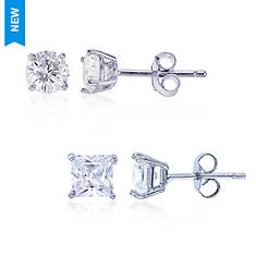 753b530ff6d86c Sterling Silver 5x5mm Square & 6mm Round Earring Set