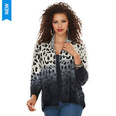 Leopard Fuzzy Open-Front Sweater