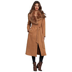 Belted Faux Fur Collar Coat