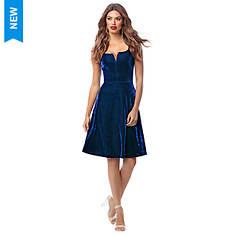 Velvet Fit-and-Flare Dress