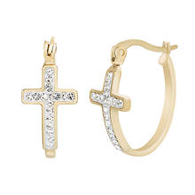 Crystal Cross Hoop Earrings