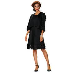 Rosette-Trimmed Jacket and Dress Set