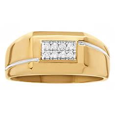 10K Men's Micropavé Diamond Accent Ring