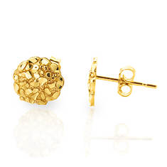 10K Yellow Gold 10.2mm Nugget Stud Earrings